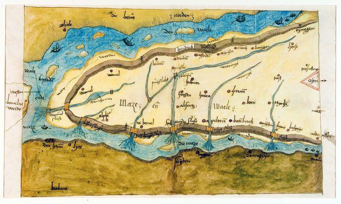 De vroegstbekende kaart van het Land van Maas en Waal uit de zestiende eeuw.