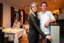 Thomas van Santvoort en zijn (gast)vrouw Merlijn van den Bosch en Thomas van Santvoort in restaurant Flicka.
