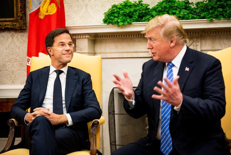 Premier Rutte en president Trump in het Witte Huis. Beeld Freek van den Bergh / De Volkskrant