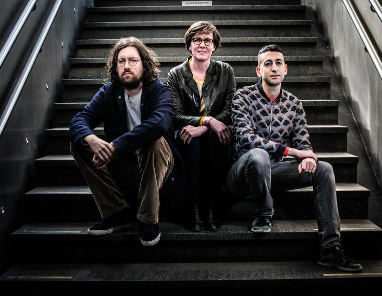 Dries Douibi (l.) vormt met Sophie Alexandre en Daniel Blanga-Gubbay de directie van Kunstenfestivaldesarts. Beeld Bas Bogaerts