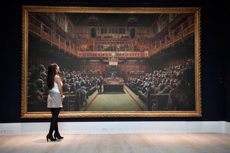 'Devolved Parliament' wordt verkocht tijdens de Contemporary Art Evening Auction in Londen op 3 oktober. Beeld EPA
