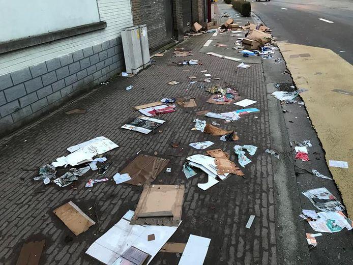De straten in Steenokkerzeel werden in één grote puinhoop omgetoverd.