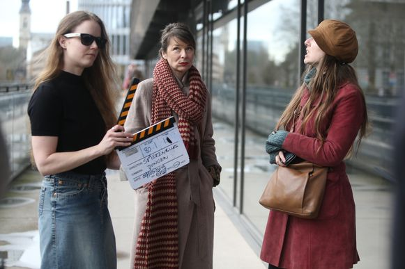 Filmopnames aan De Krook met onder meer Dolores Bouckaert.