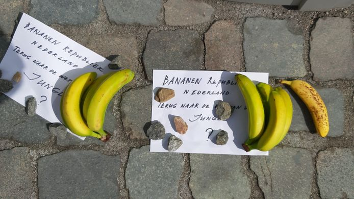 Bananenactie van Virus Waanzin bij de rechtbank in Breda.