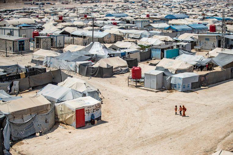Kinderen in het vluchtelingenkamp van al-Hol. Beeld AFP