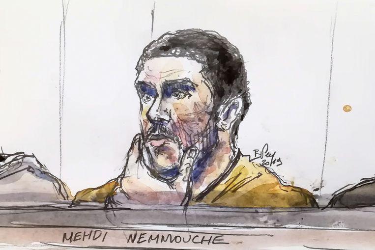 Mehdi Nemmouche in de rechtbank Beeld AFP