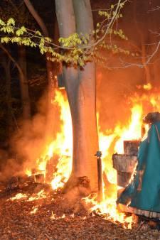 Stapel hout vat vlam in bos bij Zutphen, politie gaat uit van brandstichting