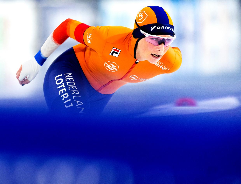 Irene Schouten in actie op de 5.000 meter tijdens de WK in Heerenveen. Ze pakte het goud op deze afstand. Beeld Klaas Jan van der Weij / de Volkskrant