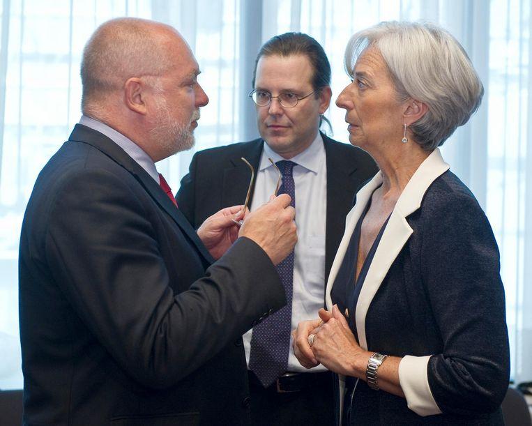 Wieser in gesprek met IMF-directeur Christine Lagarde en de Zweedse minister van Financiën Anders Borg in 2010 Beeld Bloomberg via Getty Images