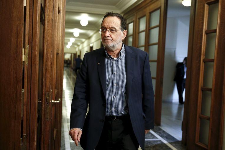 De extreemlinkse minister van Energie Panagiotis Lafazanis zal waarschijnlijk tegen stemmen. Beeld REUTERS