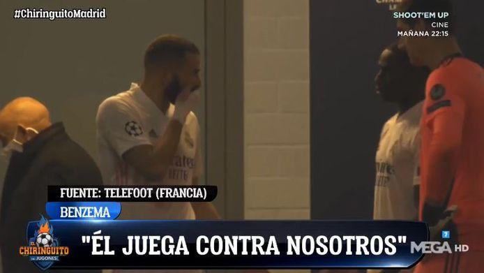 Benzema et Mendy à la mi-temps du match entre le Real et Mönchengladbach