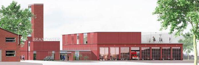 De nieuwbouw van de brandweer.