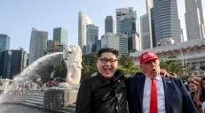 fotoreeks over Zoek de zeven verschillen: dubbelganger Kim Jong-un doet de hoofden draaien in Singapore