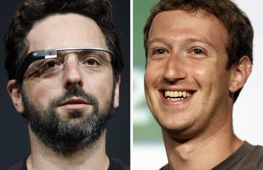 Sergueï Brin (Google) et Mark Zuckerberg (Facebook)