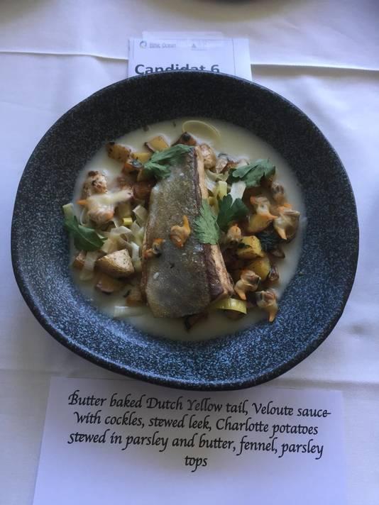 Een van de twee gerechten die Terence van Lenten op het Concours Olivier Roellinger heeft gepresenteerd.