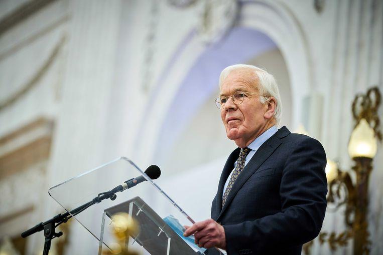 Herman Tjeenk Willink tijdens een persconferentie woensdag. Beeld ANP