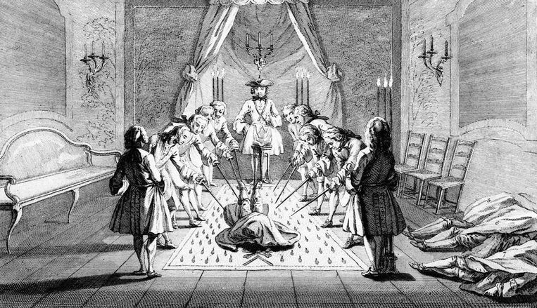 'Assembly of Freemasons for the initiation of a master', circa 1733. Kunstenaar onbekend. Beeld ANP