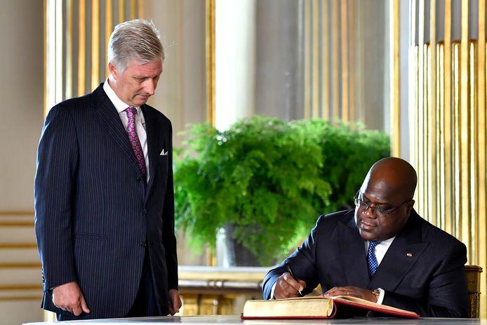 Koning Filip en de Congolese president Felix Tshisekedi tijdens een bezoek aan België vorig jaar.