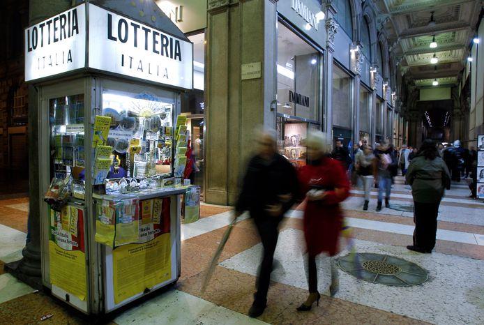 Verkoopkiosk van loterijkaarten in Italië. Dit is niet de kiosk uit het verhaal.