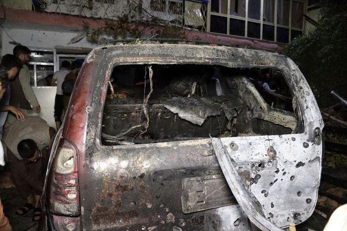 De auto die het doelwit was van de Amerikaanse droneaanval.