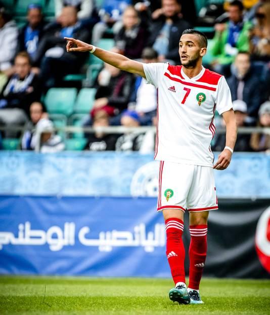 Hakim Ziyech in actie namens Marokko.