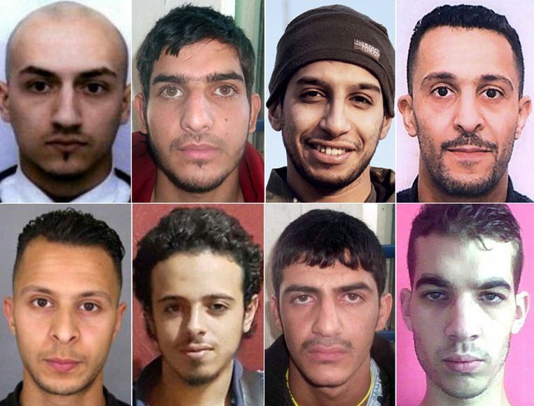 This combination of photos made in Paris on November 26, 2015 shows the suspects who carried out the attacks in Paris: Samy Amimour, an unidentified man, Abdelhamid Abaaoud, Brahim Abdeslam, Salah Abdeslam, Bilal Hadfi, an unidentified man suspected of being involved in the attacks and Omar Ismail Mostefai. Beeld AFP