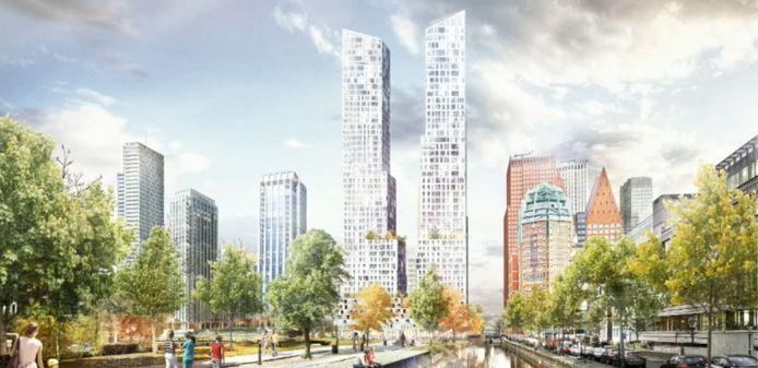 De twee torens die in het centrum van Den Haag komen
