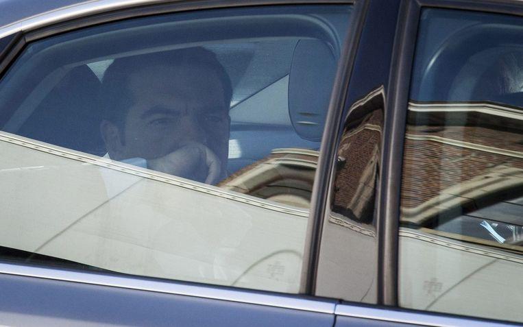 De Griekse premier Alexis Tsipras na afloop van de gesprekken met de Europese instituties. Beeld epa