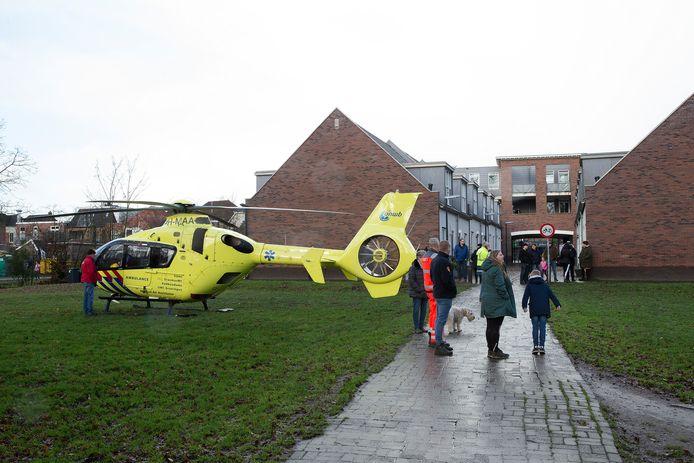 Een traumahelikopter kwam ter plaatse na de explosie in Terborg.