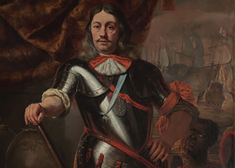 Op dit portret van Ferdinand Bol is kapitein Cornelis Tromp te zien. De zwarte man naast hem is onbekend maar wordt in museum nu wel genoemd.  Beeld scheepvaartmuseum