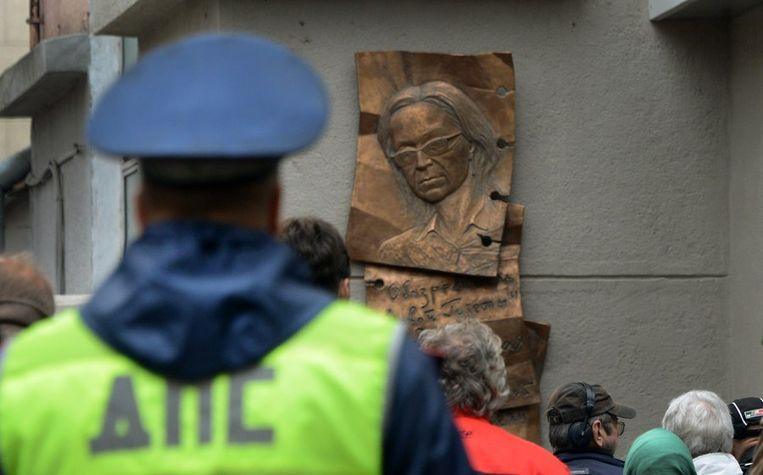 De plaquette ter nagedachtenis aan journaliste Anna Politkovskaya. Beeld afp