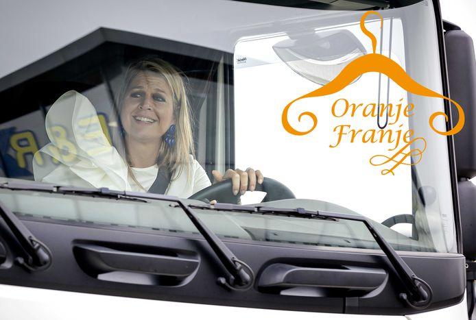 Koningin Máxima kroop deze week met een brede lach achter het stuur van een vrachtwagen.