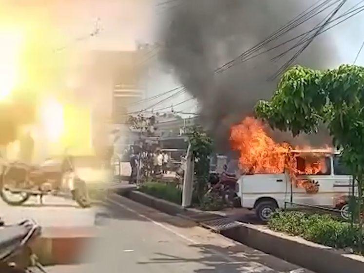 Brandende ambulance ontploft, drie mensen verschroeid