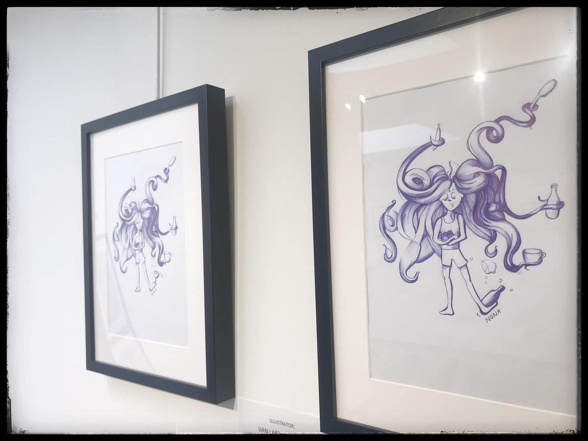 Enkele van de tentoongestelde werken van 'Memory for Life'. Hier de werken van Nona Van Laethem.