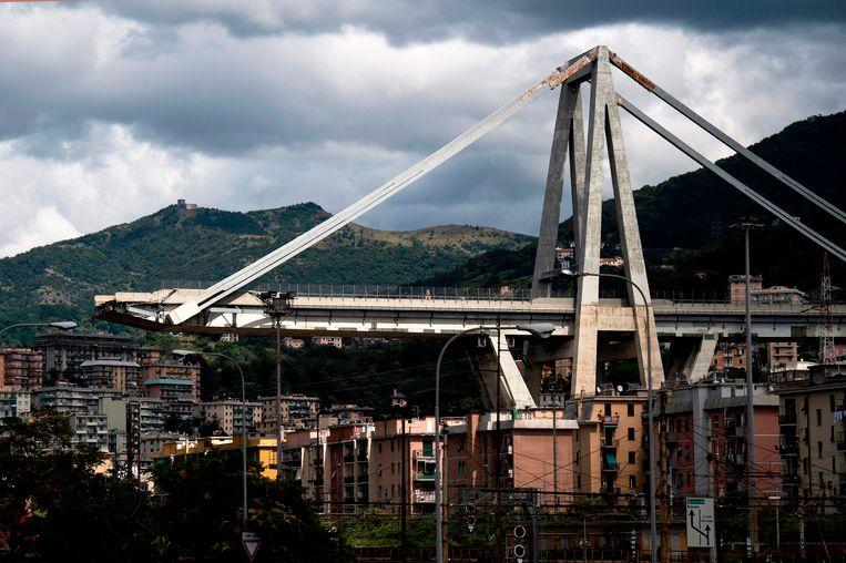 Restanten van de Morandi-brug in Genua.