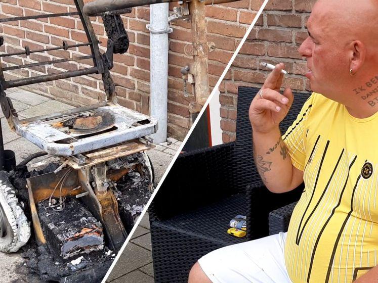 Tony's scootmobiel ging in vlammen op