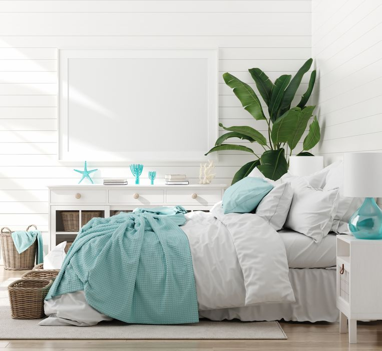 Mock up frame in bedroom interior, marine room with sea decor and furniture, Coastal style, 3d render Beeld Getty Images/iStockphoto