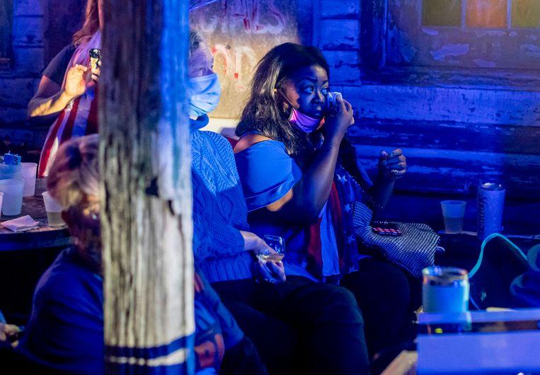 Tijdens haar toespraak zorgen Harris' inspirerende woorden voor tranen. Beeld AFP