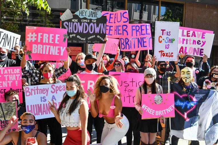Een groep fans die in 2019 de beweging Free Britney opzette. Beeld Getty Images