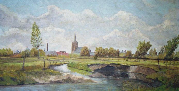 Aquarel van Moergestel aan de Reusel, geschilderd door Marinus Welvaarts
