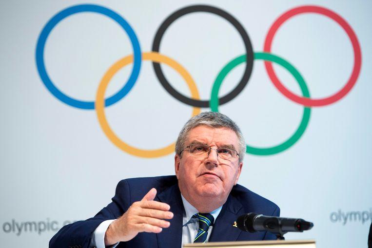 IOC-voorzitter Thomas Bach op de persconferentie in Lausanne Beeld EPA