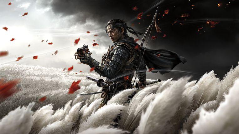 Samurai Jin Sakai verliest zich in Ghost of Tsushima geregeld in haiku's en puzzels. Beeld Sony