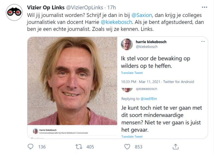 De Raaltenaar, die sinds 2010 les geeft aan Saxion in Enschede,  kwam afgelopen weekeinde in de picture nadat het Twitteraccount 'Vizier op Links' zijn 16.000 volgers attendeerde op de tweets van Kiekebosch.