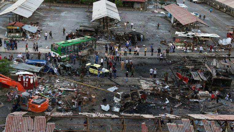 Het busstation in Jableh, Syrië, na de bomaanslagen van maandag.