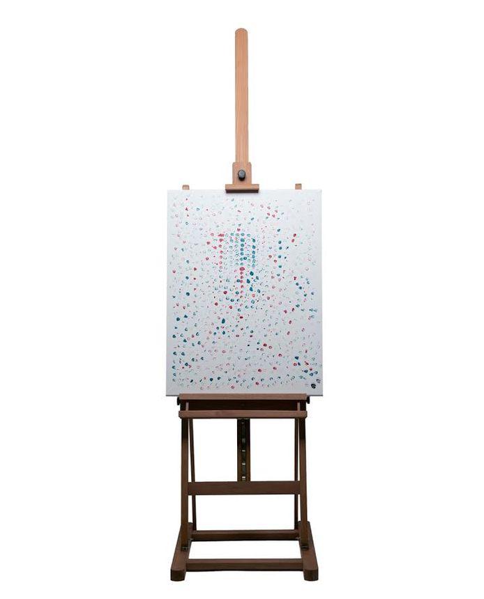 Het schilderij dat Hef maakte door met de punt van zijn joints stippen te zetten.