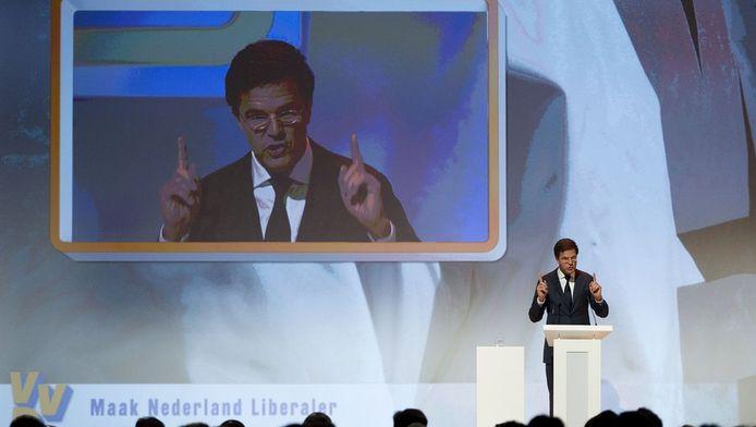 Mark Rutte spreekt op het VVD-congres