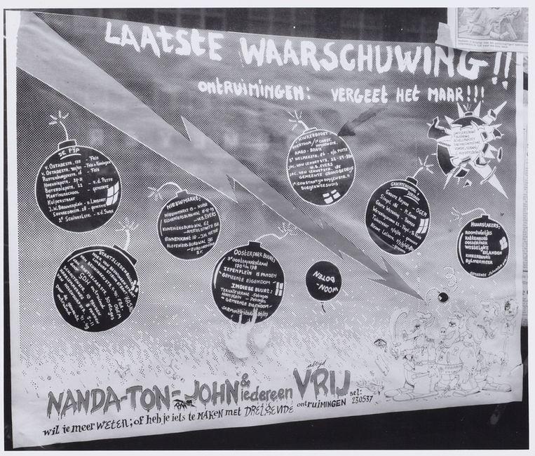 Protest tegen ontruiming Vondelstraat, juni 1980. Foto Stadsarchief Amsterdam Beeld