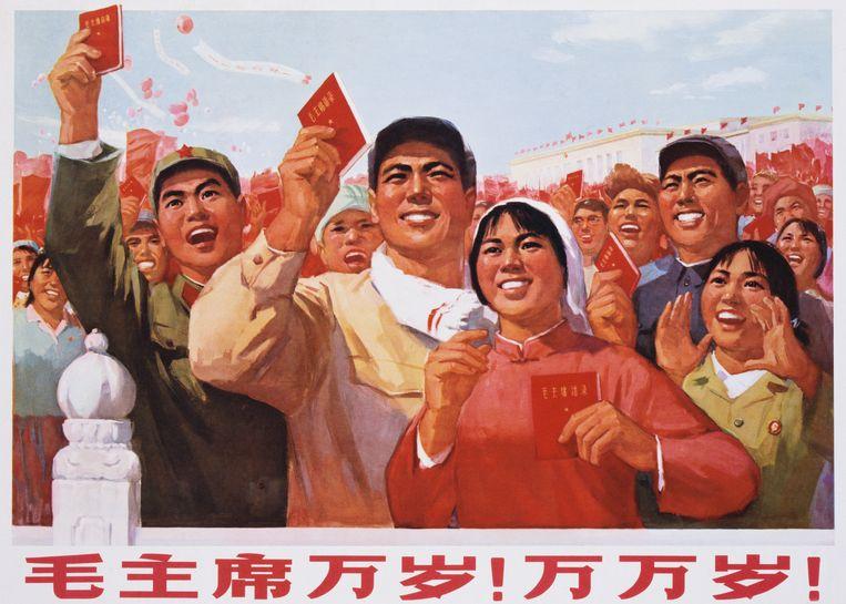 'Lang leve voorzitter Mao!': een propagandaposter van de Chinese Communistische Partij voor de grondlegger van de Volksrepubliek Mao Zedong.   Beeld Getty