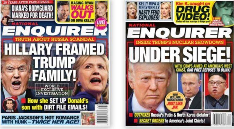 Enkele Trump-gezinde covers van The National Enquirer. Beeld rv