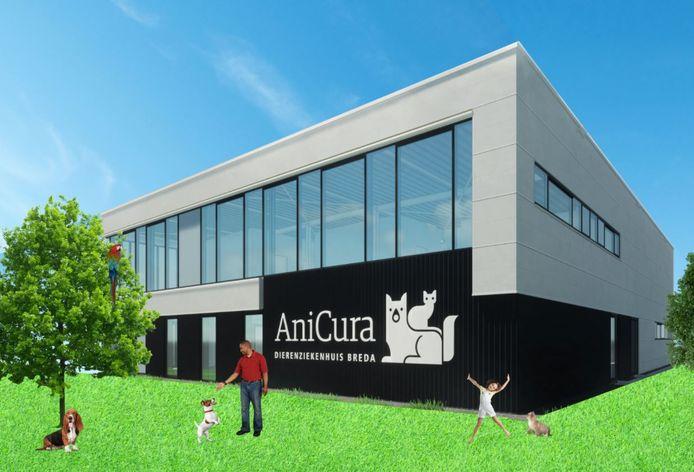 Het ontwerp van het exterieur van het nieuwe dierenziekenhuis dat Anicura aan de Crogtdijk in Breda laat bouwen. De buitenkant wordt strak, in lijn met de omgeving. Het interieur wordt zacht en (dier)vriendelijk.